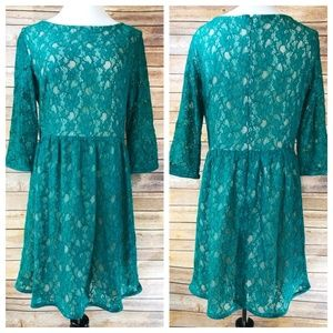 French Connection Teal Green Anna Lace Dress